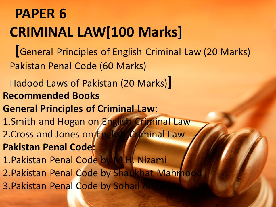 PAPER 6. CRIMINAL LAW[100 Marks]